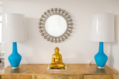 Capri Bottle Lamps and Mirror by Jonanthan Adler