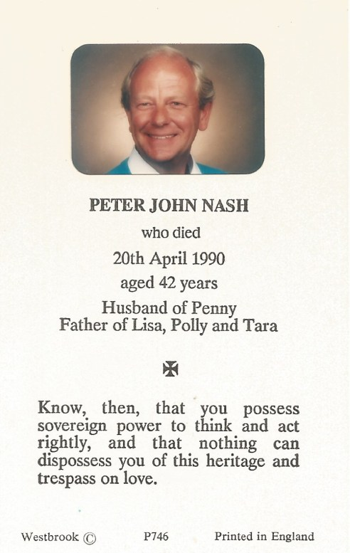 Peter Nash funeral card